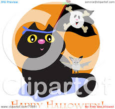 royalty free rf clipart illustration of a black cat with a