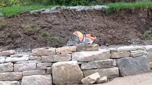 dry stack natural stone retaining wall at deep creek lake