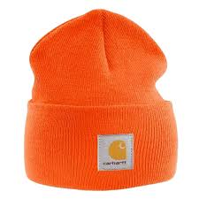 carhartt acrylic watch cap bright orange branded beanie ski