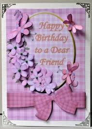 pink flowers birthday card for a dear friend with decoupage