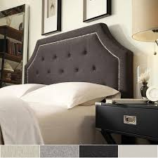grace button tufted queen size fabric headboard with nailhead trim