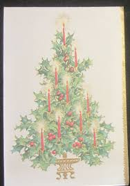 vintage christmas greeting card holly tree with brite candle