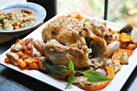 a turkey less thanksgiving recipe for stuffed chicken with