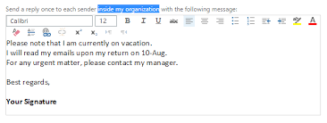how to turn on out of office replies in the eoas web mail