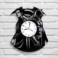 Home Decor Clocks Batman Vs Superman Vinyl Record Wall Clock Black Room Decor Wall