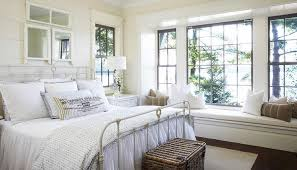 White Cottage Bedroom With Long Built In Window Seat Cottage