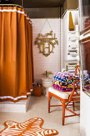 bathrooms classic bathrom with orange shower curtain and white