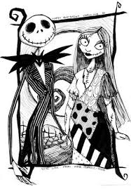 jack and sally nightmare before christmas coloring page from