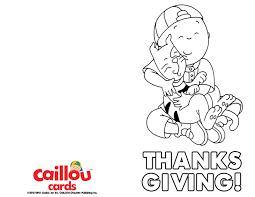 caillou happy thanksgiving printable card hugs caillou