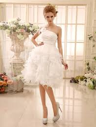 feather wedding dress ivory wedding dress knee length one shoulder flowers feathers