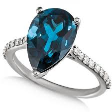 blue london rings images Blue topaz pear engagement ring with diamonds 14k w gold 025ct jpg