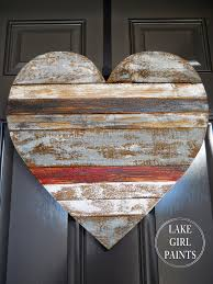 lake paints wood scrap heart hanging love is all we need