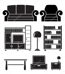 Living Room Clipart Black And White Living Room Objects Furniture And Equipment U2014 Stock Vector