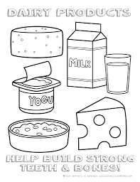 printable healthy eating chart coloring pages with dairy products