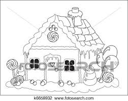 clipart of gingerbread house colouring page k6658932 search clip