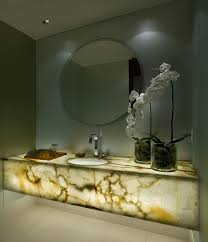 Cultured Onyx Vanity Tops Bahtroom Fresh Flower Decor On Glass Vase Beside Round Sink Under