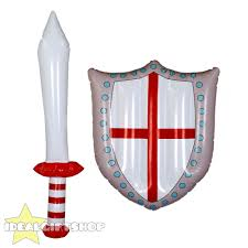 Country Flags England Inflatable Sword And Shield Country Flag Blow Up Toy Gladiator