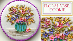 How To Decorate Flower Vase How To Decorate A Flower Cookie Floral Vase Plaque Youtube