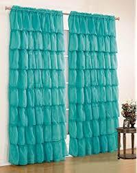 Sheer Ruffled Curtains Cascade Sea 84 Shabby Chic Sheer Ruffled Curtain