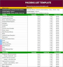 Packing List Template Excel Packing List Template 30 Free Templates Free Premium Templates