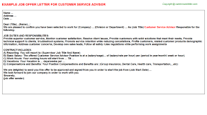 customer service advisor offer letter