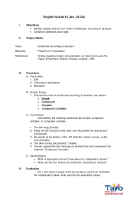 Compound Subject Worksheets Semi Detailed Lesson Plan Sentence Structures