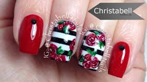 christabellnails stripes and flowers nail art tutorial youtube