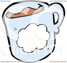 cartoon of a blue coffee mug with a cloud 2 royalty free vector