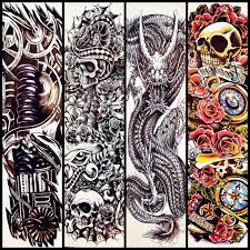 skull rose flower design big body arm tattoo sleeve for women men