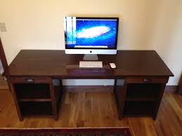 dark brown computer desk rectangle dark brown wooden computer desk with drawers and racks on