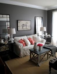 charcoal wall in living rooms with dark brown sofas including room