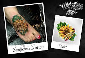 sunflower tattoo by wildthingstattoo on deviantart