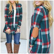 Plaid Cardigan Womens 2 A T Boutique Sold Out Plaid Elbow Patch Cardigan From