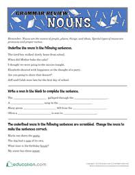 grammar review nouns worksheet education com