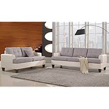 Leather Couches And Loveseats Amazon Com Classic 2 Tone Linen Fabric And Bonded Leather Sofa