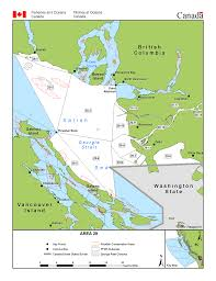 Map With Oceans Fisheries Management Area 29 Lower Georgia Strait Pacific