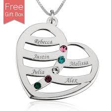 Birthstone Name Necklace Birthstones Heart Name Necklace With Kids Name Rsnamenecklace