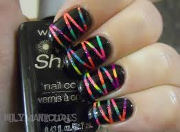 dot a bunch of different colors of polish on then do the stripes