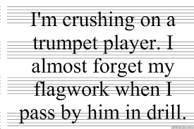 Trumpet Player Memes - i m crushing on a trumpet player i almost forget my flagwork when