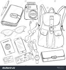 vector sketch travel set backpack purse stock vector 470601350