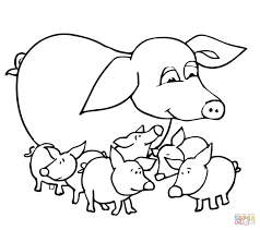 baby pigs and mother coloring page free printable coloring pages