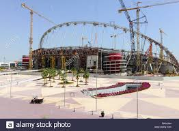 qatar doha construction site khalifa international stadium for