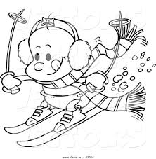 cartoon vector of cartoon baby skiing coloring page outline