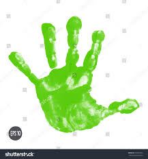 watercolor acrylic green kids handprint isolated stock vector