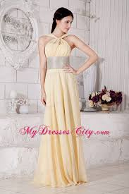 light yellow prom dresses empire straps chiffon light yellow prom dress with silver belt
