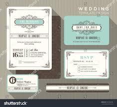 Wedding Invitation Response Card Vintage Art Deco Wedding Invitation Set Stock Vector 297998198