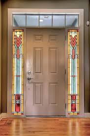 prairie style stained glass sidelights painted light stained