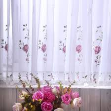 aliexpress com buy rose embroidery curtains filet lace curtains