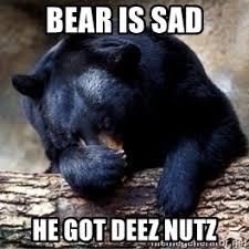 bear is sad he got deez nutz sad bear nutz meme generator