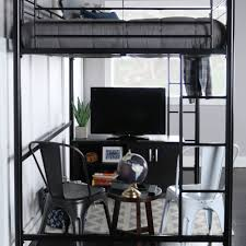 Bed Full Size Premium Full Metal Loft Bed Black Walmart Com